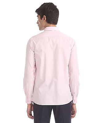 Arrow Pink Mitered Cuff Printed Shirt