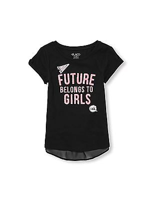 The Children's Place Girls Short Sleeve Cold Shoulder Sequin Embellished Graphic Top