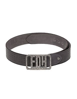 Ed Hardy Black Pin Buckle Perforated Leather Belt