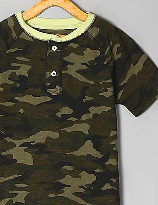 GAP Green Boys Camo Print Henley T-Shirt