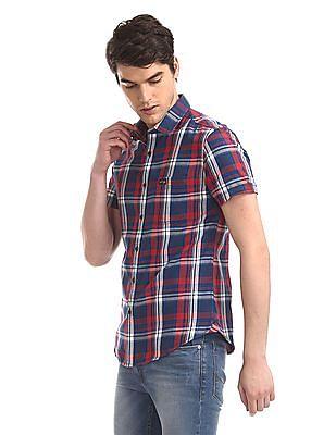 U.S. Polo Assn. Denim Co. Red Short Sleeve Check Shirt