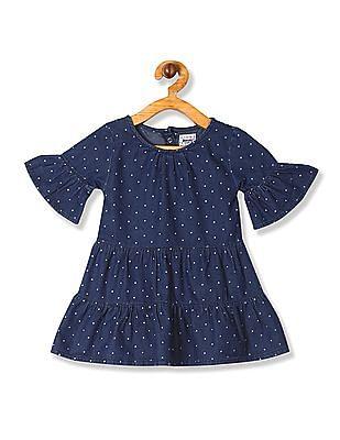 Donuts Blue Girls Polka Dot Tiered Dress