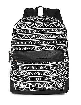 SUGR Black And White Aztec Print Canvas Backpack