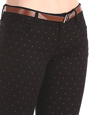 Cherokee Black Belted Printed Trousers
