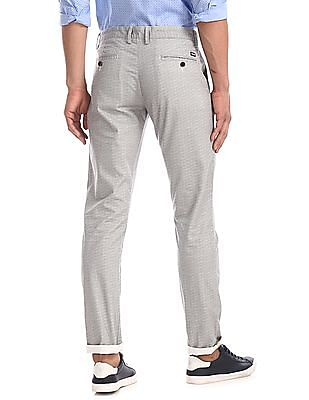 Arrow Sports Grey Chrysler Slim Fit Printed Trousers
