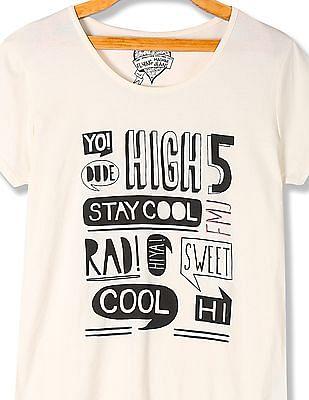 Flying Machine Women Printed Short Sleeve T-Shirt
