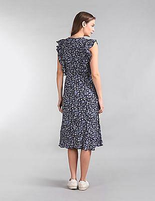 GAP Floral Print Ruffle Trim Dress