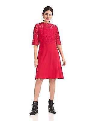 Elle Studio Bell Sleeve Lace Dress