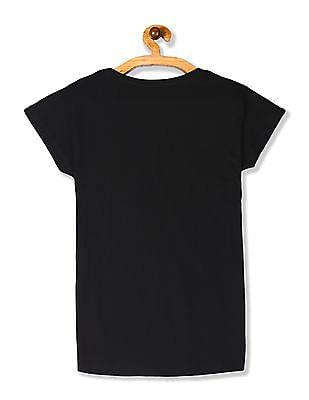 SUGR Black Metallic Print Cotton T-Shirt