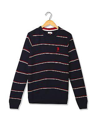 U.S. Polo Assn. Kids Boys Patterned Striped Wool Sweater