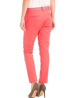 GAP Women Red Bi-Stretch Skinny Ankle Pants