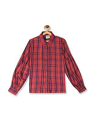 Cherokee Red Girls Barrel Cuff Check Shirt