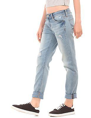Aeropostale Light Wash Distressed Skinny Jeans