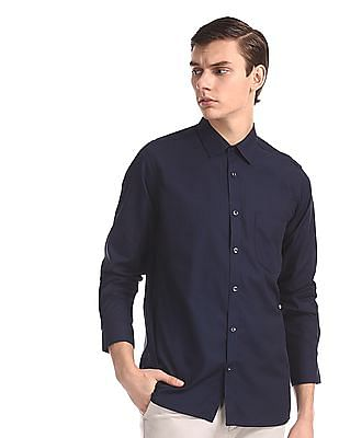 Excalibur Blue Mitered Cuff Patterned Shirt