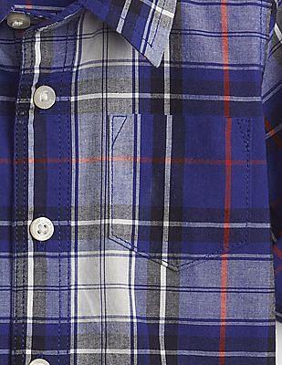 GAP Baby Blue Spread Collar Check Shirt