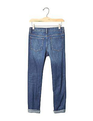 GAP Girls Blue 1969 Destructed Stretch Girlfriend Jeans