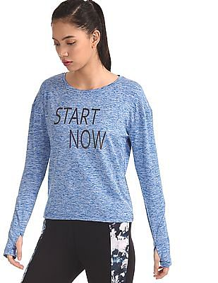 SUGR Blue Heathered Active Top