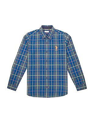 U.S. Polo Assn. Kids Boys Regular Fit Tartan Check Shirt