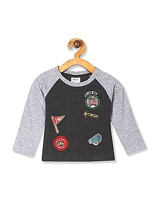 Donuts Grey Boys Crew Neck Colour Block T-Shirt