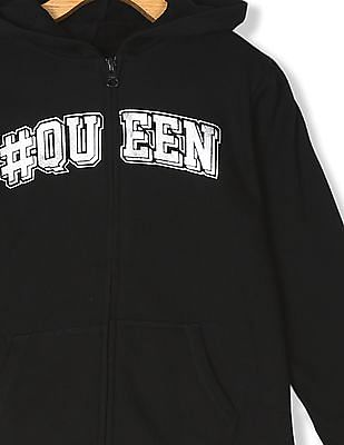 The Children's Place Girls Black Active Long Sleeve Foil Graphic Full-Zip Hoodie