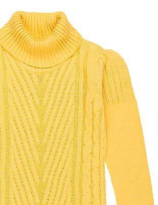 U.S. Polo Assn. Kids Girls Turtle Neck Patterned Knit Sweater Dress