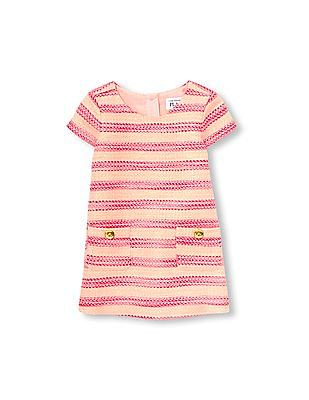 The Children's Place Toddler Girl Cap Sleeve Metallic Neon Tweed Shift Dress