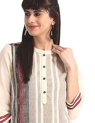 Karigari White Mandarin Collar Striped Kurta