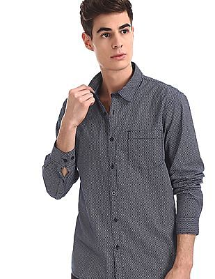 Ruggers Blue Mitered Cuff Printed Shirt