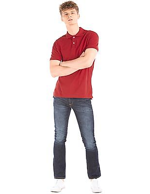 GAP Men Red Solid Cotton Polo Shirt