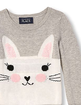 The Children's Place Toddler Girl Long Sleeve Animal Sweater