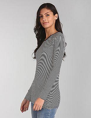 GAP Women Blue Long Sleeve Stripe Tunic Tee