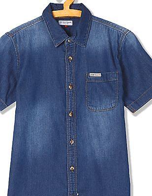 U.S. Polo Assn. Kids Boys Short Sleeve Chambray Shirt