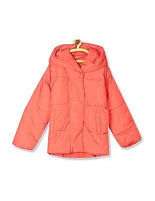 Aeropostale Orange Hooded Puffer Jacket