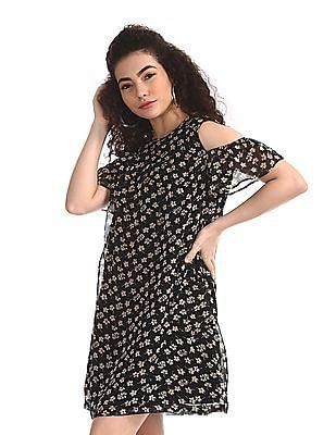 Flying Machine Women Black Floral Print A-Line Dress