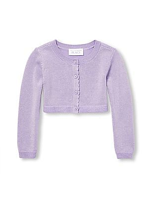 The Children's Place Toddler Girl Long Sleeve Button Front Cropped Knit Cardigan