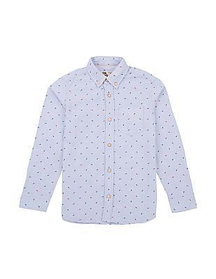 FM Boys Fishbone Print Slim Fit Shirt