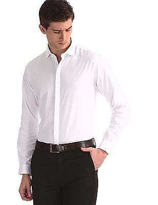 Excalibur White Concealed Placket Slim Fit Shirt