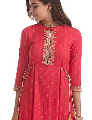 Anahi Pink Printed Kalidar Kurta