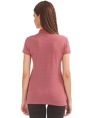 U.S. Polo Assn. Women Printed Cotton Lycra Polo Shirt