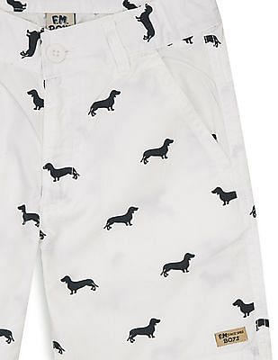 FM Boys Boys Dog Print Regular Fit Shorts