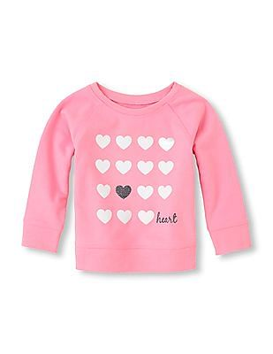The Children's Place Baby Girl Pink Long Sleeve Printed Sweatshirt