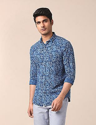 True Blue Slim Fit Printed Shirt