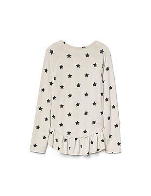 GAP Girls White Softspun Knit Starry Ruffle Tee