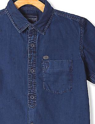 Cherokee Boys Short Sleeve Chambray Shirt