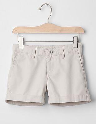 GAP Girls Grey Solid Midi Shorts