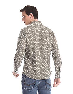 U.S. Polo Assn. Denim Co. Brown Round Cuff Printed Shirt