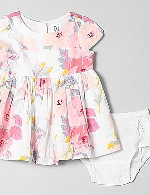 GAP Baby Floral Print Fit And Flare Dress