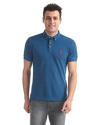 U.S. Polo Assn. Button Down Heathered Polo Shirt
