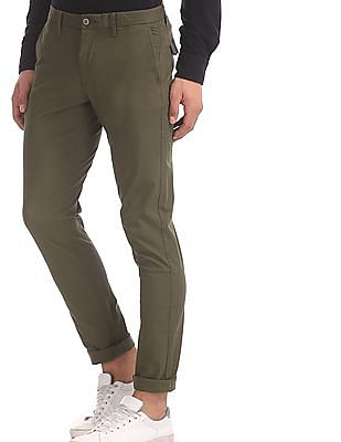U.S. Polo Assn. Green Solid Austin Trim Regular Fit Trousers