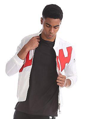 Ed Hardy White Brand Print Bomber Jacket